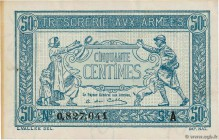 Country : FRANCE  Face Value : 50 Centimes TRÉSORERIE AUX ARMÉES 1917  Date : 1917  Period/Province/Bank : Trésor  Catalogue reference : VF.01.01  Add...