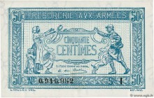 Country : FRANCE  Face Value : 50 Centimes TRÉSORERIE AUX ARMÉES 1917  Date : 1917  Period/Province/Bank : Trésor  Catalogue reference : VF.01.09  Add...