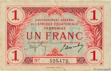 Country : FRENCH EQUATORIAL AFRICA  Face Value : 1 Franc  Date : (17 octobre 1917)  Period/Province/Bank : Gouvernement Général de l'AEF, nécessité  C...