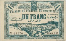 Country : ALGERIA  Face Value : 1 Franc  Date : 20 novembre 1922  Period/Province/Bank : Nécessités, Chambres de Commerce  Department : Algérie  Frenc...