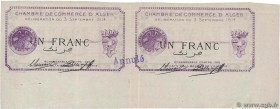 Country : ALGERIA  Face Value : 1 Franc  Date : 03 septembre 1914  Period/Province/Bank : Nécessités, Chambres de Commerce  Department : Algérie  Fren...
