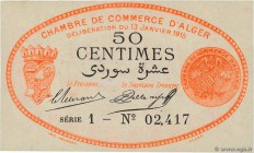 Country : ALGERIA  Face Value : 50 Centimes  Date : 13 janvier 1915  Period/Province/Bank : Nécessités, Chambres de Commerce  Department : Algérie  Fr...