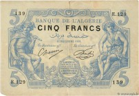Country : ALGERIA  Face Value : 5 Francs  Date : 17 décembre 1909  Period/Province/Bank : Banque de l'Algérie  Catalogue reference : P.71a  Additional...