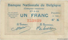 Country : BELGIUM  Face Value : 1 Franc  Date : 27 août 1914  Period/Province/Bank : Banque Nationale de Belgique  Catalogue reference : P.81  Alphabe...