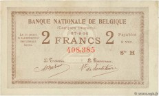 Country : BELGIUM  Face Value : 2 Francs  Date : 27 août 1914  Period/Province/Bank : Banque Nationale de Belgique  Catalogue reference : P.82  Alphab...