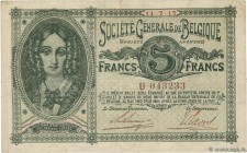 Country : BELGIUM  Face Value : 5 Francs  Date : 11 juillet 1917  Period/Province/Bank : Société Générale de Belgique  Catalogue reference : P.88  Alp...