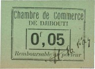 Country : DJIBOUTI  Face Value : 0,05 Franc  Date : (1919)  Period/Province/Bank : Chambre de Commerce  Catalogue reference : P.21  Additional referen...