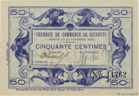 Country : DJIBOUTI  Face Value : 50 Centimes  Date : 30 novembre 1919  Period/Province/Bank : Chambre de Commerce de Djibouti  Catalogue reference : P...