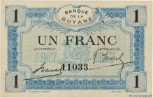 Country : FRENCH GUIANA  Face Value : 1 Franc  Date : (1917)  Period/Province/Bank : Banque de la Guyane  Catalogue reference : P.5  Additional refere...