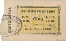 Country : FRENCH INDOCHINA  Face Value : 5 Cents  Date : 01 juin 1920  Period/Province/Bank : Continental Palace, Saïgon  Catalogue reference : K.219 ...