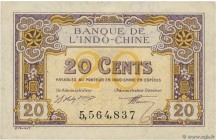 Country : FRENCH INDOCHINA  Face Value : 20 Cents  Date : 1919  Period/Province/Bank : Banque de l'Indochine  Catalogue reference : P.45a  Alphabet - ...