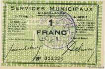 Country : MOROCCO  Face Value : 1 Franc  Date : (1919)  Period/Province/Bank : Émission de nécessité  French City : Casablanca  Catalogue reference : ...