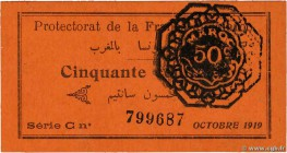 Country : MOROCCO  Face Value : 50 Centimes  Date : octobre 1919  Period/Province/Bank : Protectorat de la France au Maroc  Catalogue reference : P.5c...