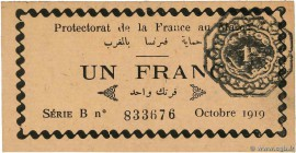 Country : MOROCCO  Face Value : 1 Franc  Date : octobre 1919  Period/Province/Bank : Protectorat de la France au Maroc  Catalogue reference : P.6a  Ad...