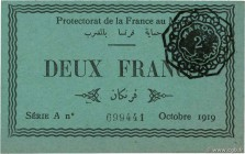 Country : MOROCCO  Face Value : 2 Francs  Date : octobre 1919  Period/Province/Bank : Protectorat de la France au Maroc  Catalogue reference : P.7a  A...