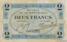 Country : MARTINIQUE  Face Value : 2 Francs  Date : (1915-1919)  Period/Province/Bank : Banque de la Martinique  Catalogue reference : P.11  Additiona...