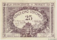 Country : MONACO  Face Value : 25 Centimes  Date : 1920  Period/Province/Bank : Principauté de Monaco  Catalogue reference : P.2b  Commentary : Timbre...