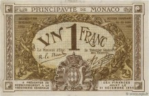 Country : MONACO  Face Value : 1 Franc  Date : 1920  Period/Province/Bank : Principauté de Monaco  Catalogue reference : P.4  Alphabet - signatures - ...