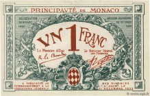 Country : MONACO  Face Value : 1 Franc  Date : 1920  Period/Province/Bank : Principauté de Monaco  Catalogue reference : P.5  Alphabet - signatures - ...