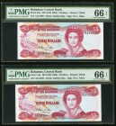 Bahamas Central Bank of the Bahamas 3 Dollars 1974 (ND 1984) Pick 44a Five Consecutive Examples PMG Gem Uncirculated 66 EPQ. As made ink on the first ...