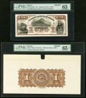 Bolivia Banco Nacional de Bolivia 1 Boliviano 1873 Pick S184fp; S184bp Front And Back Proof PMG Choice Uncirculated 63; Gem Uncirculated 65 EPQ.   HID...