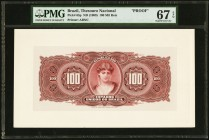 Brazil Thesouro Nacional 100 Mil Reis ND (1909) Pick 65p Proof PMG Superb Gem Unc 67 EPQ. Note unaffected by issues on cardstock.  HID09801242017