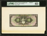 Brazil Caixa de Estabilizacao 10 Mil Reis 1926 Pick 103p Proof PMG Gem Uncirculated 65 EPQ. Note unaffected by issues on cardstock.  HID09801242017