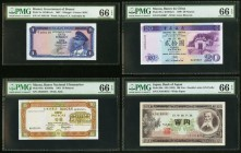 A Mixed Lot Of Four From Brunei, Macau And Japan PMG Gem Uncirculated 66 EPQ. Brunei Government of Brunei 1 Ringgit 1967 Pick 1a. Macau Banco National...