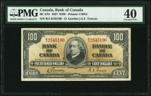 Canada Bank of Canada 100 Dollars 2.1.1937 BC-27b PMG Extremely Fine 40.   HID09801242017