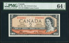"Canada Bank of Canada 2 Dollars 1954 BC-30a ""Devil's Face"" PMG Choice Uncirculated 64 EPQ.   HID09801242017"