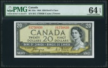 "Canada Bank of Canada 20 Dollars 1954 BC-33a ""Devil's Face"" PMG Choice Uncirculated 64 EPQ.   HID09801242017"