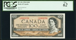 Canada Bank of Canada 100 Dollars 1954 BC-43c PCGS New 62. Small stains.  HID09801242017