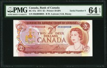 Canada Bank of Canada 2 Dollars 1794 BC-47a Serial Number 8 PMG Choice Uncirculated 64 EPQ.   HID09801242017