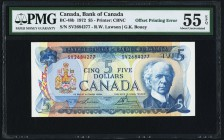 Canada Bank of Canada 5 Dollars 1972 BC-48b Offset Printing Error PMG About Uncirculated 55 EPQ. Offprint can be noticed on the face of the note.  HID...