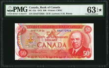 Canada Bank of Canada 50 Dollars 1975 BC-51a PMG Choice Uncirculated 63 EPQ S.   HID09801242017