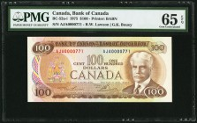 Canada Bank of Canada 100 Dollars 1975 BC-52a-i PMG Gem Uncirculated 65 EPQ.   HID09801242017