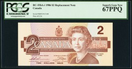 Canada Bank of Canada 2 Dollars 1986 BC-55bA-i Replacement PCGS Superb Gem New 67PPQ.   HID09801242017