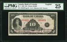 Canada Bank of Canada 10 Dollars 1935 BC-7 PMG Very Fine 25. English.  HID09801242017