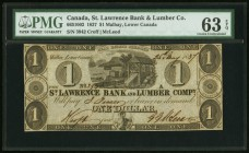 Canada St. Lawrence Bank and Lumber Company 1 Dollar 25.5.1837 Ch.#665-10-02 PMG Choice Uncirculated 63 EPQ.   HID09801242017