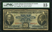 Canada Banque Provinciale du Canada 20 Dollars 1928 Ch.# 615-14-18 PMG Choice Fine 15.   HID09801242017