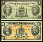 Montreal, PQ- Royal Bank of Canada 5; 10 Dollars 2.1.1935 Ch.# 630-18-02; 630-18-04 Fine or Better.   HID09801242017