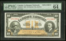 "Canada Banque Nationale 10 Dollars 2.11.1922 Ch.# 510-22-04S Specimen PMG Choice Uncirculated 64 EPQ. Two perforated ""Specimen"" present.  HID098012420..."