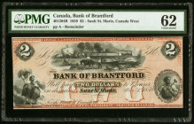 Canada Bank of Brantford 2 Dollars 1859 Ch. # 40-12-04R Remainder PMG Uncirculated 62. Staining.  HID09801242017