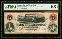 Canada Bank of Brantford 5 Dollars 1859 Ch. # 40-12-08R Remainder PMG Choice Uncirculated 63 EPQ.   HID09801242017