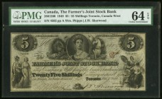 Canada Farmers' Joint Stock 5 Dollars / 25 Shillings 2.1.1819 Ch.# 280-12-06 PMG Choice Uncirculated 64 EPQ.   HID09801242017