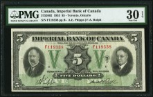 Canada Imperial Bank of Canada 5 Dollars 11.1.1933 Ch.# 375-20-02 PMG Very Fine 30 EPQ.   HID09801242017