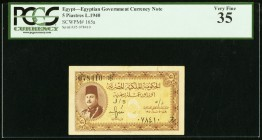 Egypt Egyptian Government 5 Piastres 1940 pick 165a PCGS Very Fine 35.   HID09801242017