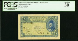 Egypt Egyptian Government 10 Piastres 1940 Pick 168a PCGS Very Fine 30.   HID09801242017