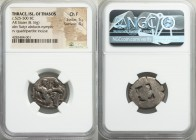 THRACIAN ISLANDS. Thasos. Ca. 525-500 BC. AR stater (22mm, 8.16 gm). NGC Choice Fine 5/5 - 4/5.  Thasian standard. Nude ithyphallic satyr running righ...