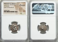 THRACIAN KINGDOM. Lysimachus (305-281 BC). AR drachm (19mm, 1h). NGC Choice AU. 'Colophon', ca. 301-297 BC. Head of Heracles right, wearing lion skin ...